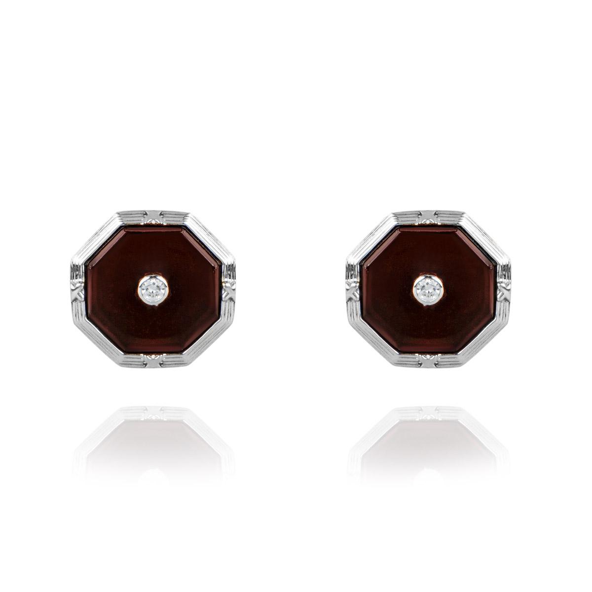 18k White Gold Red Onyx and Diamond Cufflinks